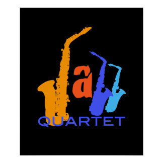 Colors of Jazz Sax Illustration Black Poster 1
