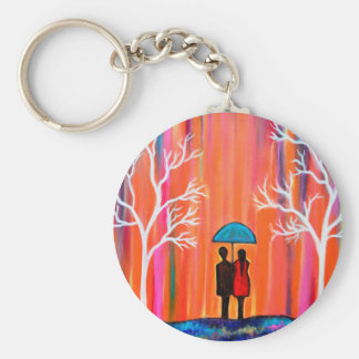 Colors of Love colorful romantic painting giftart Basic Round Button Keychain