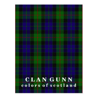 Colors of Scotland Clan Gunn Tartan Postcard