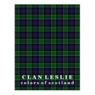 Colors of Scotland Clan Leslie Tartan Postcard