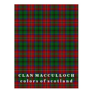 Colors of Scotland Clan MacCulloch Tartan Postcard