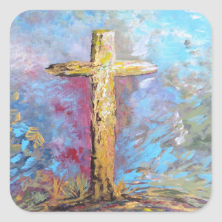 Colors of the Cross Square Sticker
