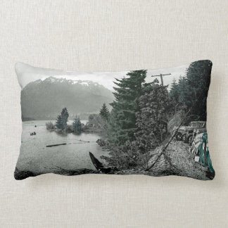 Colorsplash Vintage Mountain Lake Nature Cars Pic Lumbar Pillow