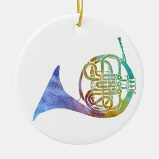 Colorwashed French Horn Ceramic Ornament