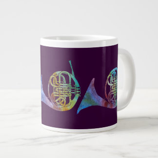 Colorwashed French Horns on Plum Large Coffee Mug