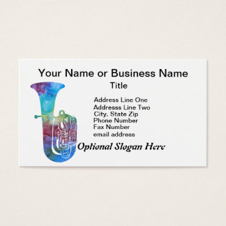 Colorwashed Tuba Business Card