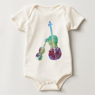 Colorwashed Violin and Cello Baby Bodysuit
