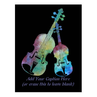 Colorwashed Violin and Viola Postcard