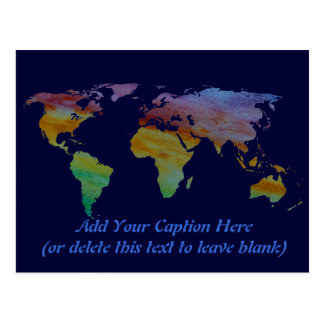 Colorwashed World Map Postcard