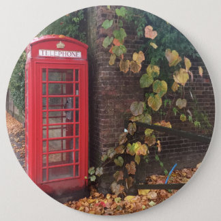 "Colossal, 15.2 cm (6"") Round Badge. Telephone Box. 6 Inch Round Button"