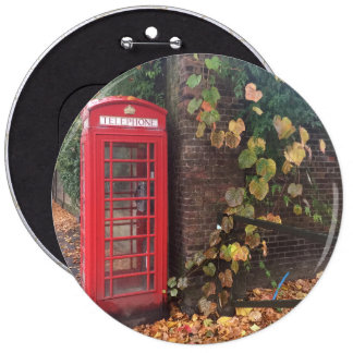 """Colossal, 15.2 cm (6"""") Round Badge. Telephone Box. 6 Inch Round Button"""