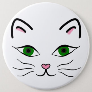 Colossal 6 Inch Round Button - Kitty Face