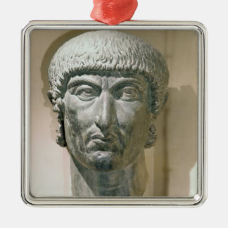 Colossal head of Emperor Constantine I Silver-Colored Square Ornament