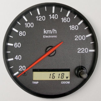 COLOSSAL Speedometer Odometer, 6 inch Pins buttons
