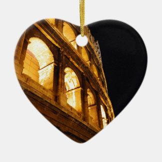 Colosseum at night ceramic heart ornament