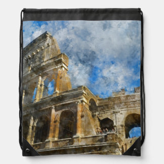 Colosseum in Ancient Rome Italy Drawstring Bag