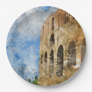 Colosseum in Rome, Italy 9 Inch Paper Plate