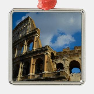 Colosseum in Rome, Italy Silver-Colored Square Ornament