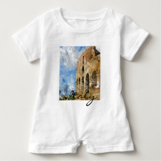 Colosseum in Rome Italy Watercolor Baby Romper