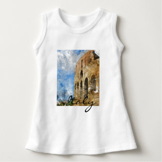 Colosseum in Rome Italy Watercolor Dress