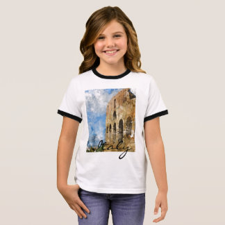 Colosseum in Rome Italy Watercolor Ringer T-Shirt