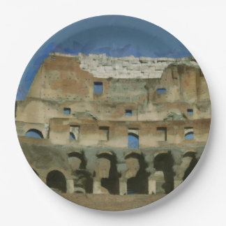 Colosseum painting, Rome 9 Inch Paper Plate