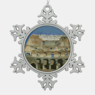 Colosseum painting, Rome Pewter Snowflake Ornament