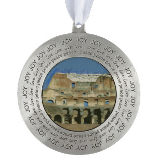 Colosseum painting, Rome Round Pewter Ornament