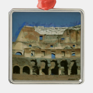 Colosseum painting, Rome Silver-Colored Square Ornament