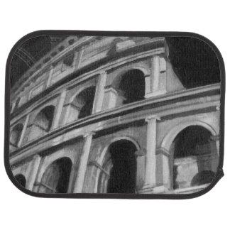 Colosseum romain avec les dessins architecturaux tapis de voiture