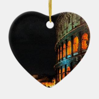 Colosseum Roman in Rome Ceramic Heart Ornament