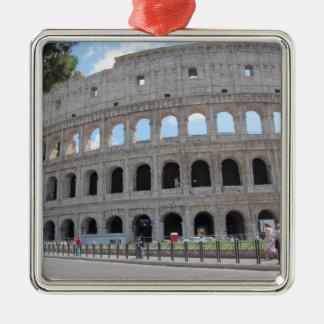 Colosseum Rome On! Silver-Colored Square Ornament