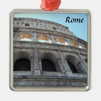 Colosseum- Rome Silver-Colored Square Ornament