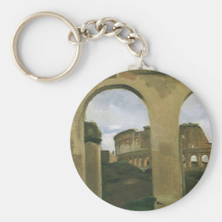 Colosseum Seen through the Arcades in Rome, Italy Basic Round Button Keychain