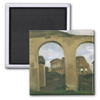 Colosseum Seen through the Arcades in Rome, Italy Square Magnet