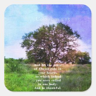 Colossians 3:15 Inspirational Bible Verse Square Sticker