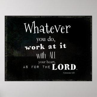 Colossians 3:23 Bible Verse, Scripture Art Poster