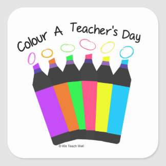 Colour a Teacher's Day Sticker