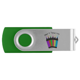 Colour a Teacher's Day  two tone USB Swivel USB 2.0 Flash Drive