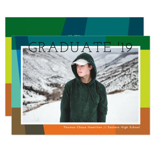 Colour Bands Photo Graduation Announcement