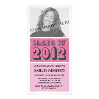 Colour Block 2012 Graduation Party Invites - pink Personalized Photo Card
