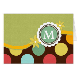 Colour Block Circles Monogram Note Card