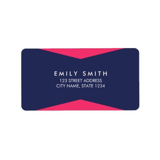 Colour Block Vibrant Pink Blue Modern Address Label