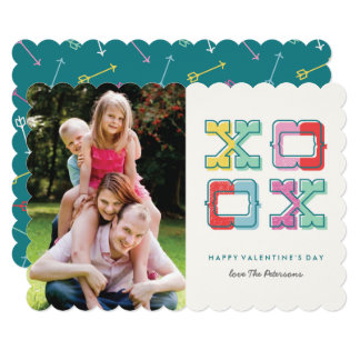 "Colour-Blocked XOXO Valentine's Day Card 5"" X 7"" Invitation Card"