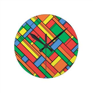 Colour blocks round clock