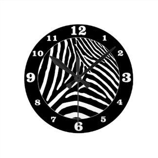 Colour Choice Zebra- Black Round Clock