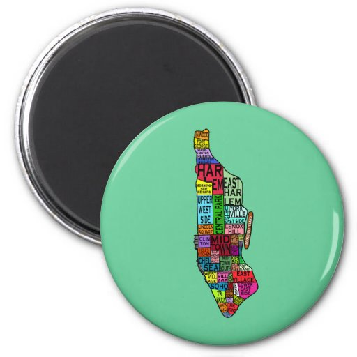 Colour Coded Manhattan NYC Tshirts, Hoodies 2 Inch Round Magnet