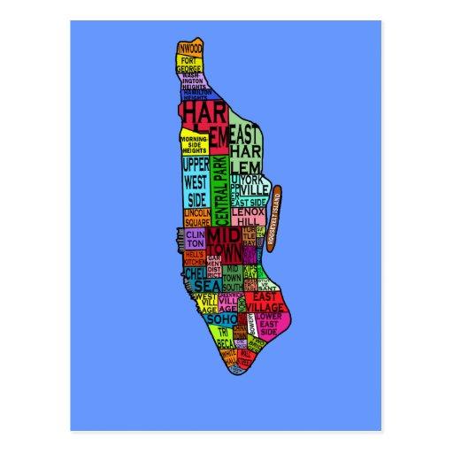 Colour Coded Manhattan NYC Tshirts, Hoodies Postcard