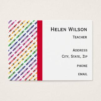 Colour Crayon Border Teacher Business Card