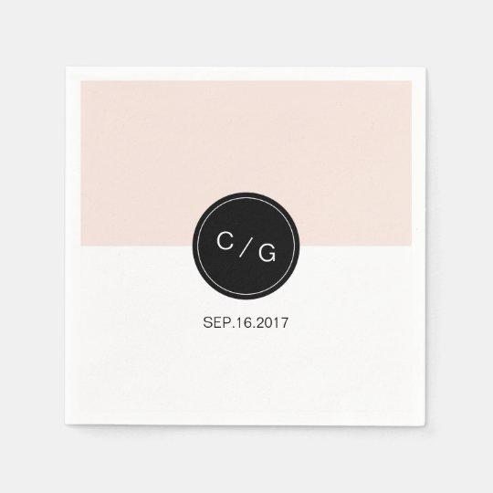 Colour editable minimalist modern wedding monogram paper napkins